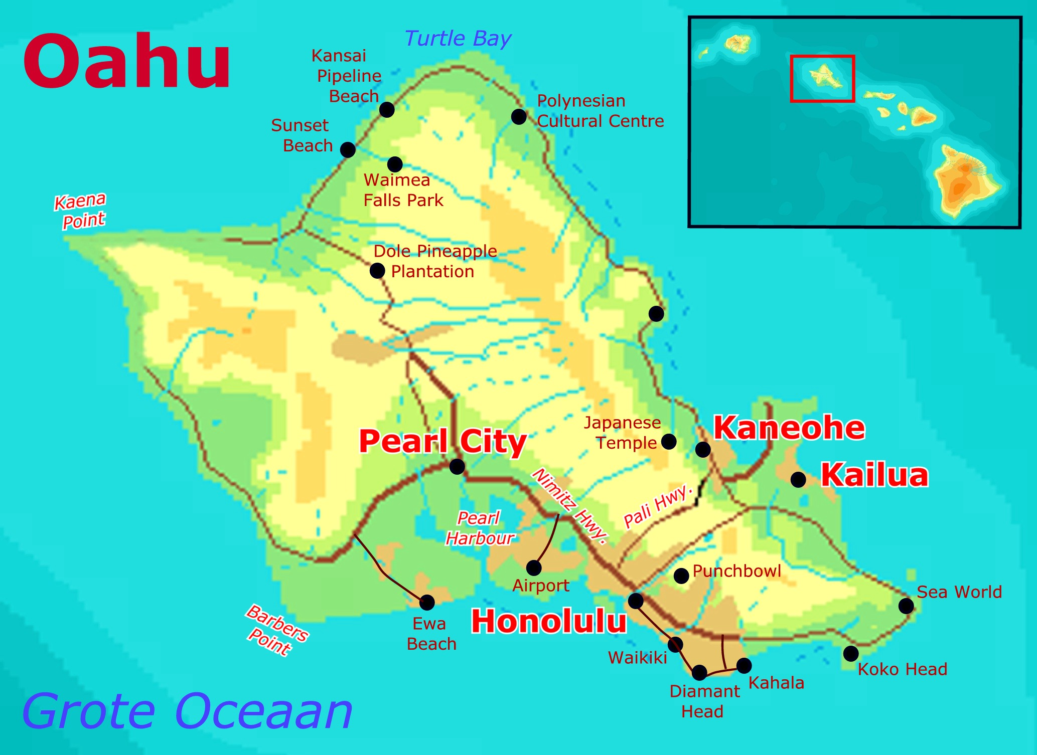 Printable Map Of Oahu Hawaii